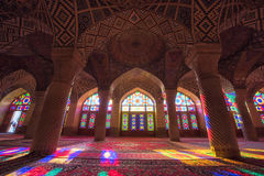 HDR of Nasir al-Mulk Mosque in Shiraz, Iran. Nasir al-Mulk Mosque is one of the most picturesque stock photo