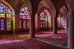 HDR του μουσουλμανικού τεμένους του Nasir Al-Mulk στη Shiraz, Ιράν Στοκ Εικόνες