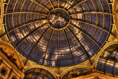 HDR night photo of Galleria Vittorio Emanuele II in Milan Royalty Free Stock Photo