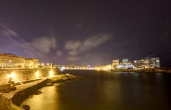 HDR Night view on Valletta Grand harbor from the historic Upper Barraka garden area in Malta Stock Photography