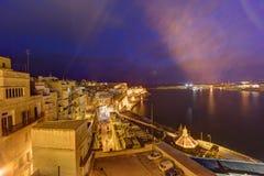 HDR night view on Valletta Grand harbor from the historic Upper Barraka garden area in Malta.  Royalty Free Stock Photo