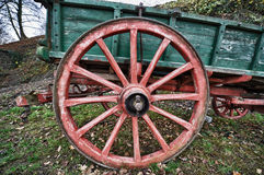 HDR of an old red painted wheel Stock Image