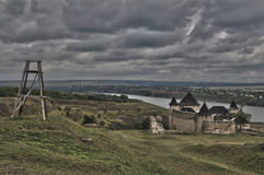 HDR panorama of Khotyn castle. And the river Dniester Royalty Free Stock Photo