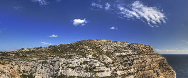HDR panorama photo of Blue Grotto area in Malta, Europe Stock Image