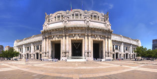 HDR panorama photo of the Central railway station in Milan, Italy. Stock Photography