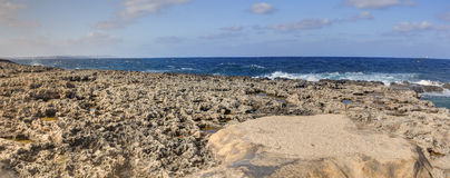 HDR panorama photo of a sunny day at the sea coast with deep blue clean water and a nice stone beach and vegetation growing there Royalty Free Stock Photo