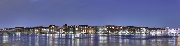 HDR panorama of waterfront homes. Copenhagen, Denmark Stock Photography
