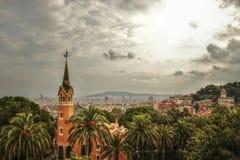 HDR从Parc Guell的照片视图在巴塞罗那,卡塔龙尼亚,西班牙 免版税库存图片