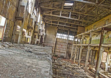 HDR photo. Abandoning, destruction, broken factory from inside Royalty Free Stock Image