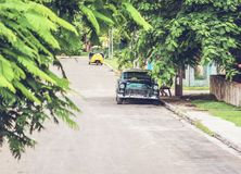 HDR Photo American Classic car on street in Havana Cuba royalty free stock photo