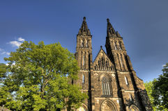 HDR photo of the beautiful old basilica of Saint Peter and Saint Paul, Vysehrad, Prague, Czech republic Royalty Free Stock Image