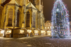 HDR photo of the first ever traditional Christmas markets at the Prague castle behind the Metropolitan Cathedral of Saints Vitus Royalty Free Stock Image