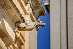 HDR photo of a historic stone gargoyle on the edge of an old house in Mdina city, historic capital of Malta Royalty Free Stock Photos