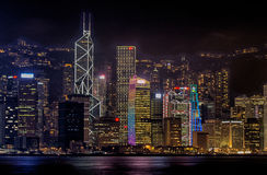 HDR photo of Hong Kong Skyline at night in 2013. HDR photo of Hong Kong Island skyline at night in 2013. The skyscrapers are beautiful lit up at night. On the Royalty Free Stock Photos