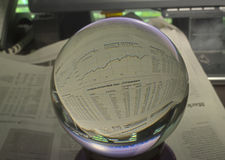 HDR Photo image of stock market graph through a crystal ball Royalty Free Stock Photography