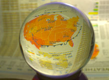 HDR Photo image of a weather map in a crystal ball Stock Photo