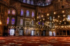 HDR photo of the interior of the famous Blue Mosque Stock Photography