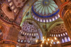 HDR photo of the interior of the famous Blue Mosque Stock Images