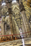 HDR photo Interior of the famous Cathedral Duomo di Milano on piazza in Milan Royalty Free Stock Photos