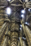 HDR photo Interior of the famous Cathedral Duomo di Milano on piazza in Milan Stock Images
