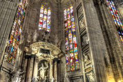 HDR photo Interior of the famous Cathedral Duomo di Milano on piazza in Milan Stock Photos