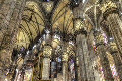 HDR photo Interior of the famous Cathedral Duomo di Milano on piazza in Milan Stock Image