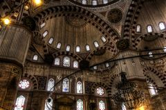 HDR photo of the interior of the Sehzade Mosque in Istanbul Royalty Free Stock Photography