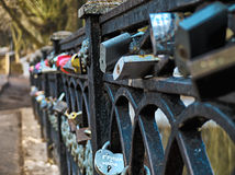 HDR photo of Locks on the bridge railing Royalty Free Stock Photos