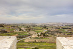 HDR photo of Malta landscape from the top of the historic city Mdina in late afternoon sun.  Royalty Free Stock Images