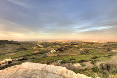 HDR photo of Malta landscape from the top of the historic city Mdina in late afternoon sun.  Stock Photos