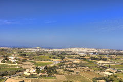 HDR photo of Malta landscape from the top of the historic city Mdina in late afternoon sun on a sunny day.  Stock Photos