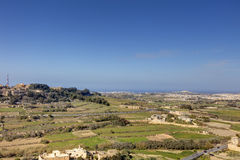 HDR photo of Malta landscape from the top of the historic city Mdina in late afternoon sun on a sunny day.  Stock Photo