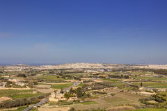 HDR photo of Malta landscape from the top of the historic city Mdina in late afternoon sun on a sunny day.  Stock Image
