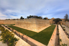 HDR photo of Mdina city historic walls. Mdina is the former historic capital of the Malta island Stock Image
