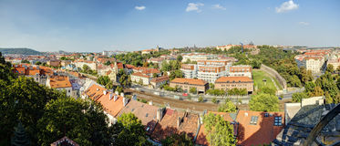 HDR Photo Panorama Of Prague Cityscape In Afternoon Sun, Czech Republic. Photo Taken At Vysehrad Royalty Free Stock Photo