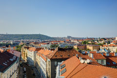 HDR photo panorama of Prague cityscape and Vltava river  in afternoon sun, Czech republic. Photo taken at Vysehrad Stock Photos