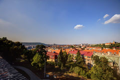 HDR photo panorama of Prague cityscape and Vltava river  in afternoon sun, Czech republic. Photo taken at Vysehrad Royalty Free Stock Image