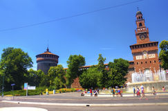 HDR photo of the people in front of the Sforza Castle in Milan Stock Photos
