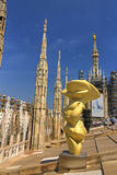HDR photo of people on the roof of the Cathedral Duomo di Milano on piazza in Milan Stock Photography