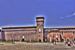 HDR photo of the people at the yard of the Sforza Castle in Milan Stock Images