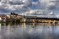 HDR photo of Prague castle and the saint Vitus Cathedral with Vltava river Stock Photo