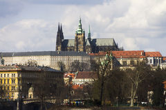 HDR photo of the Saint Vitus cathedral and the Prague castle complex in Prague Royalty Free Stock Photography