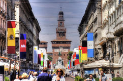 HDR photo of the Sforza Castle and the main street with restaurants and people in front of it Stock Images