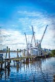 HDR photo of shrimp boats on a dock. stock photos