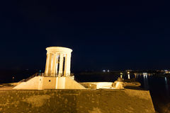 HDR photo of the Siege Bell War Memorial at night, Valletta, Malta Royalty Free Stock Images