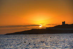 HDR photo of sunrise behind sea  at Malta, St. Paul Royalty Free Stock Photo