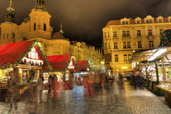 HDR photo of the traditional Christmas markets at Old towns square in Prague, Czech republic, in 2015 Royalty Free Stock Photography