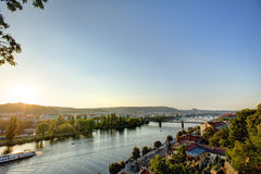 HDR photo of a view on Vltava river with sun setting behind it from Vysehrad in Prague, Czech republic Stock Image