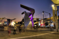 HDR photo of the visitors of Milan Expo at night Stock Images