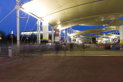 HDR photo of the visitors of Milan Expo at night Stock Image